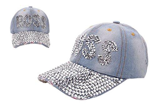 [Women Rhinestone Boss Letter Anchor Flower Studded Denim Baseball Skull Hat Cap] (Ladies Golf Fancy Dress Costumes)