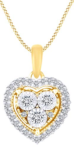 - Christmas Sale 1/4 Carat White Natural Diamond Heart Pendant Necklace In Sterling Silver (0.25 Cttw)