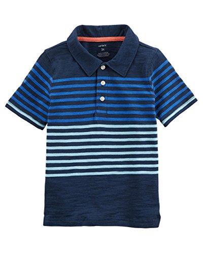 Carter's Boys' 2T-8 Short Sleeve Print Jersey Polo (Multi Blue Stripes, 3T)