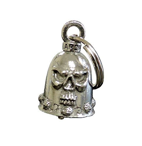 Motorcycle Guardian™ Bell Antiqued Pewter Tone Skull & Roses - Antiqued Rose Ring