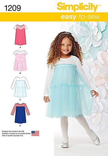 Simplicity Easy-to-Sew Pattern 1209 Girls Knit Dresses Size 3-4-5-6-7-8 (Dress Sew Princess)