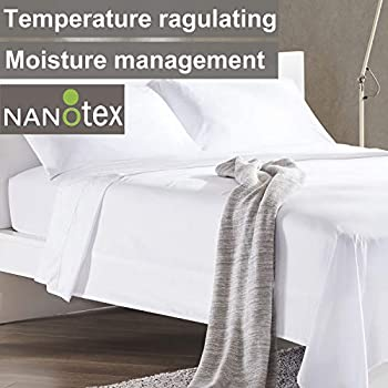 SLEEP ZONE Bed Sheet Sets Cooling Temperature Regulation Soft Wrinkle Free Fade Resistant Easy Sheets 4 PC, White,Queen