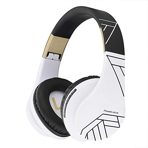PowerLocus Bluetooth Over-Ear Headphones, Wireless Stereo Foldable Headphones Wireless and Wired Headsets with Built-in Mic, Micro SD/TF, FM for iPhone/Samsung/iPad/PC (Black/White)