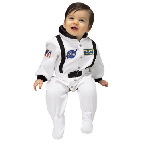 (Aeromax Jr. Astronaut Suit with NASA patches and diaper snaps,WHITE, Size 6/12)