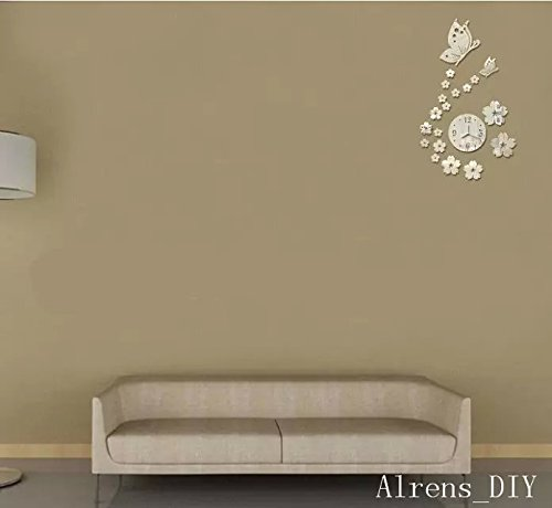Alrens_DIY(TM)Silver Butterflies and Flowers Art Mordern Luxury Design Acrylic Non-ticking Silent Quartz Wall Clock DIY Removable 3D Crystal Mirror Wall Clock Wall Sticker Home Decor Art Living Room Bedroom Office Decoration by Alrens (Image #2)