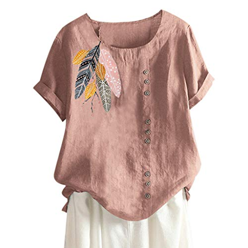 Botrong Women Plus Size O-Neck Applique Short Sleeve Tops (Pink,XXXL) ()
