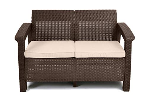 Keter Corfu Love Seat All Weather Outdoor Patio Garden Furniture w/ Cushions, Brown (Renewed)