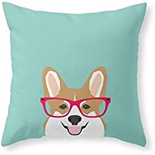 Sea Girl Soft Teagan Glasses Corgi Cute Puppy Welsh Corgi Gifts For Dog Lovers And Pet Owners Love Corgi Puppies Throw Pillow Indoor Cover Pillow Case For Your Home(18in x 18in)