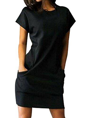 Corta Collo Corti Vestito Nero Vintage Abbigliamento Vestiti Casual Rotondo  Con Tinta Estivi Camicia Manica Ragazza Vestitini Donna Moda ... 5f046cbfc0a