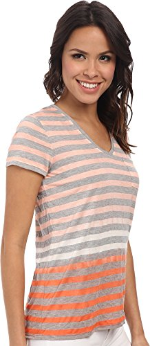 Two by Vince Camuto Women's Short Sleeve Pier Dip Dye Striped V-Neck Tee, Canyon Coral, X-Small