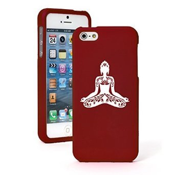 """Price comparison product image Apple iPhone 6 Plus (5.5"""") Snap On 2 Piece Rubber Hard Case Cover Buddha Yoga Om Lotus (Red)"""