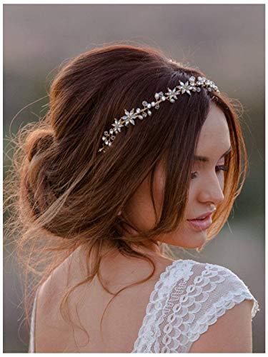 - SWEETV Rhinestone Wedding Headband Hair Vine Headpieces Silver Birdal Hair Accessories for Brides