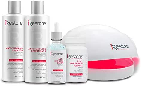 SaIe: iRestore Laser Hair Growth System: Essential Kit - FDA Cleared Laser Cap Hair Loss Treatments: Hair Regrowth for Men and Women with Thinning Hair - Red Light Therapy Hair Laser Comb Hair Growth