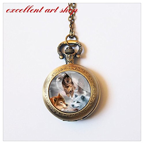 Wolf Pocket Watch & Matching Money Clip - Mens Chain with...