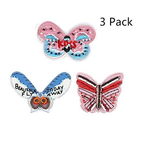 Iron On Patches, 3D Colour Beaded Butterfly Applique DIY Accessories Motif Applique Kit Sew On Patches for Jackets, Jeans, Clothing, Backpacks for Girls -3 Pack ()
