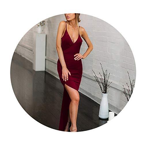 Deep V Neck Sexy Party Dress Women Backless High Side Split Strap Slim Long Bodycon Vestidos Red,Burgundy,S