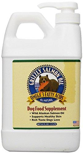 2 x 64-ounce Grizzly Salmon Oil All-Natural Dog Food Supplement in Pump-Bottle Dispenser by Grizzly Pet Products