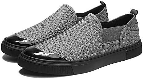 男性用スポーツシューズスリップオンスタイルメッシュ素材人格織りファッションカラーマッチングファッションスニーカー 快適な男性のために設計