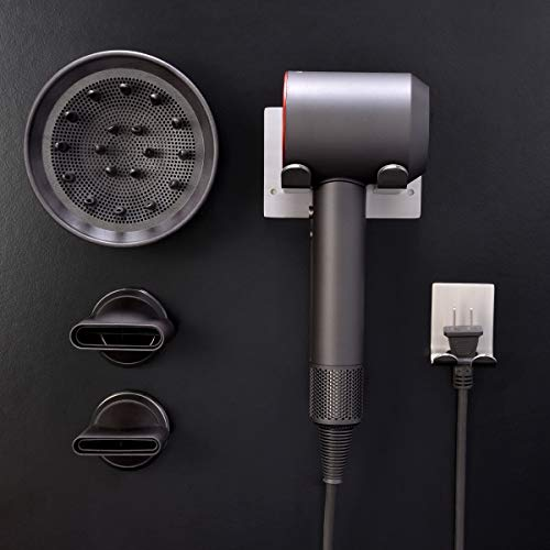 XIGOO Hair Dryer Holder, Self Adhesive Dyson Hair Dryer Wall Mount Holder Compatible Dyson Supersonic Hair Dryer, Brushed, 304 Stainless Steel, Power Plug, Diffuser and Nozzles Organizer by XIGOO (Image #8)