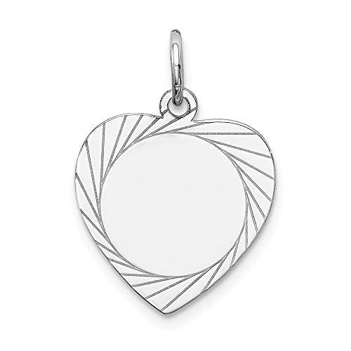 (14k White Gold Etched Design .013 Gauge Engravable Heart Charm, 14 kt White Gold)