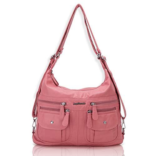 Angel Barcelo Women Multifunctional Soft Leather Handbag Purses Shoulder Hobo Backpack Crossbody Zipper Bag with Pocket Pink
