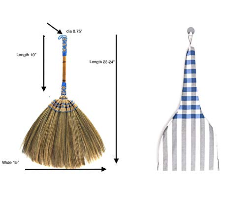 Natural Grass Broom Vintage Retro Made in Thailand, Handmade Broom, Housewarming Gift, Witch Broom, Thai Broom, Broomstick Bamboo Stick Embroidered Woven Nylon Top and Bottom Handle, Kong Grass Broom