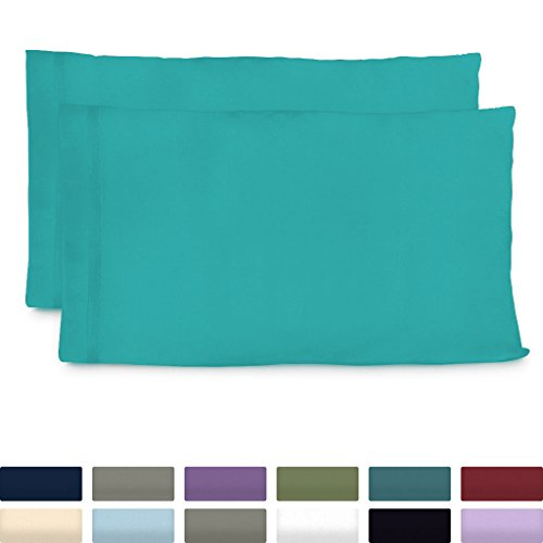 Cosy House Collection Luxury Bamboo Standard Size Pillowcases - Turquoise Pillowcase Set of 2 - Ultra Soft & Cool Hypoallergenic Natural Bamboo Blend Cover - Resists Stains, Wrinkles, Dust Mites