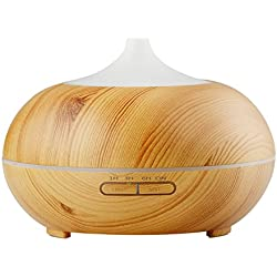 InnoGear 300ml Aromatherapy Essential Oil Diffuser Wood Grain Aroma Diffusers Cool Mist Humidmifier with Timer Adjustable Mist 7 Color Changing Night Lights Waterless Auto Shut-off