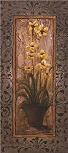 Linen Canvas ,the Imitations Art DecorativePrints on Canvas of oil painting 'Pot Plant of Yellow Flowers Canvas Print', 30x68 inch / 76x172 cm is best for Hallway gallery art and Home gallery art and Gifts