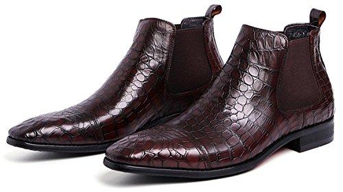 Rainstar Menns Krokodille Korn Chelsea Boot Casual Kjole Slip På Ankelstøvletter Brun