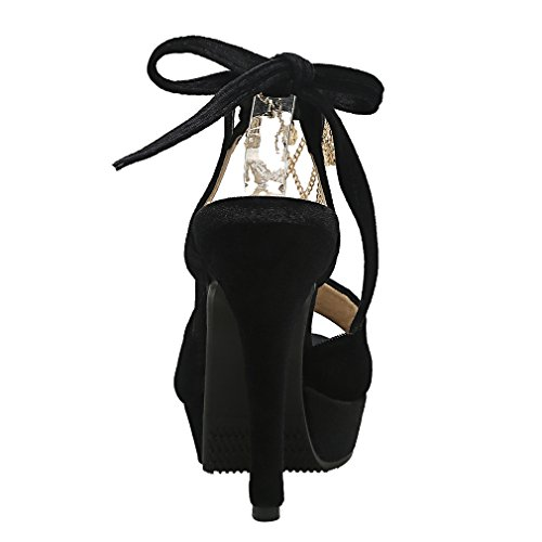 Cheville de Lacet Toe Femmes UH Sandales Sexy à Talons Suede Noir Aiguille Haut Bride Peep avec Metal qHxt4I14