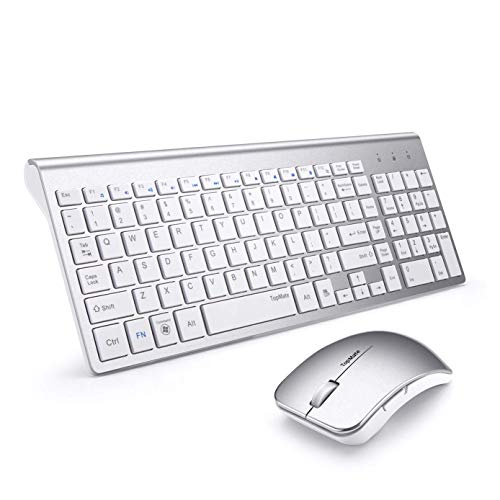 TopMate Ultra Slim Portable Mute Wireless Keyboard and Mouse Combo, Office Wireless USB Mouse(Black,White) (Silver White)