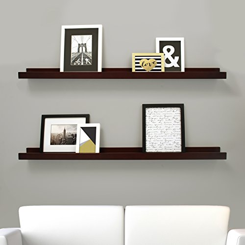 Kiera Grace Edge Picture Frame Ledge, 44 by 4-Inch, Set of 2, Espresso (Ledge Shelving)