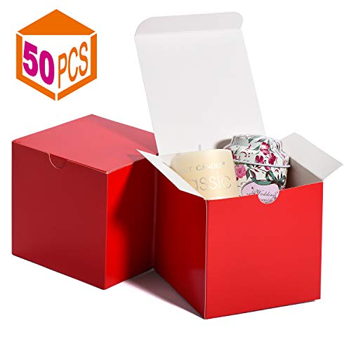 MESHA Kraft Boxes?Paper Gift Boxes with Lids for Gifts, Crafting, Cupcake Boxes,Boxes for Wrapping Gifts,Bridesmaid Proposal Boxes (Red-50Pcs)