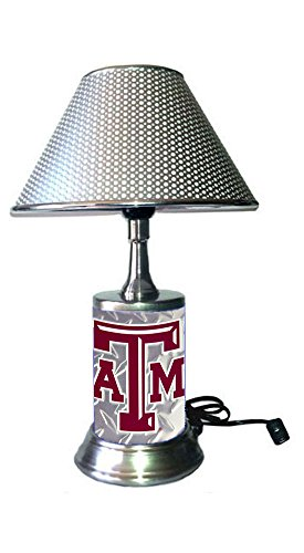 - Rico Table Lamp with Chrome Colored Shade, Texas A&M Aggies Plate Rolled in on The lamp Base, Diamond Plate Wrapped on The Base