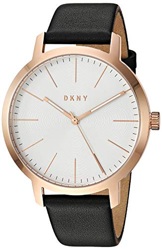 DKNY Men's The The Modernist Stainless Steel Quartz Watch with Leather Strap, Black, 19.2 (Model: NY1600)