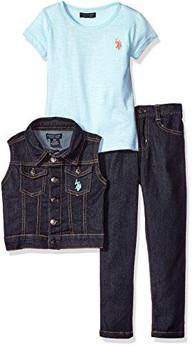 U.S. Polo Assn. Big Girls' Twill Vest, Stretch Denim Jean and Space Dyed T-Shirt, Mint, 10 Joker Jeans
