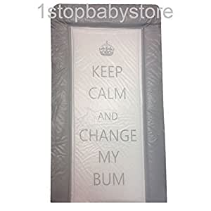 1stopbabystore matelas de change pour b b double c t gris texte imprim keep calm change. Black Bedroom Furniture Sets. Home Design Ideas
