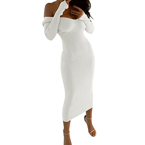 Embroidered Taffeta Evening Gown - HITRAS 2018 Women Sexy Elegant V Neck Off Shoulder Solid Long Sleeve Bodycon Maxi Dress (L, White)