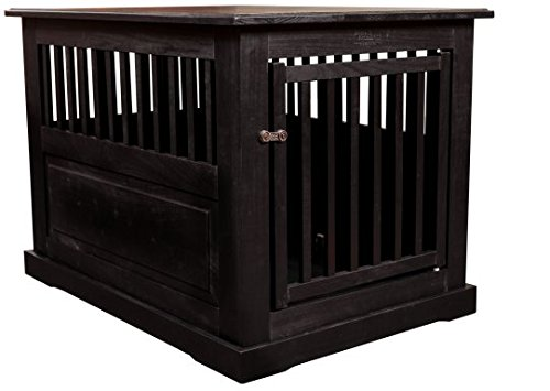 Amish Handcrafted Fortess Large Wood End Table Pet Crate - Black