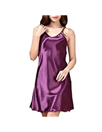 iBaste Women's Nightshirts Satin Chemises Nightgown Slip Sleepwear