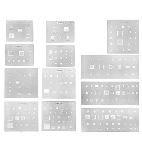 PoityA 12 Types BGA Reballing Stencil Kit Multi-Purpose Planting Tin Mesh for Samsung