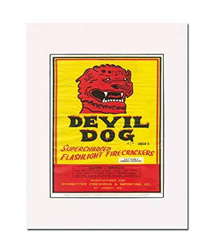Devil Dog Firecrackers Rescued Retro Label, Art Print. You Are Here. Gallery Quality. Matted at 11 inches x 14 inches and Ready to - Dog Firecracker