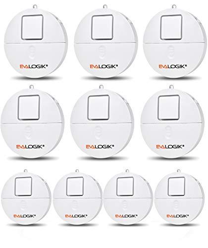 Window Alarm 10 Packs – Loud 120dB Alarm and Vibration Sensors Compatible with Virtually Any Window – Glass Break Security Alarm Sensor- Low Battery LED Indicator