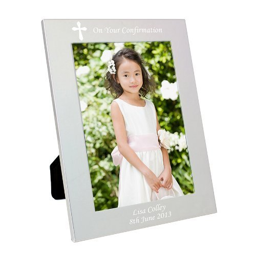 Gift Cookie Personalized Silver Cross 7x5 Photo Frame - Holy Communion, Christening, Baptism, Wedding, Confirmation by Gift Cookie