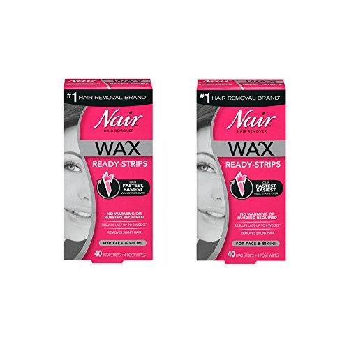 Nair Hair Remover Wax Ready-Strips 40 Count Face/Bikini (2 Pack) (Remover Ready Strip)