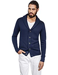 Men's Cardigan Chunky Knit Shawl Collar Slim-Fit