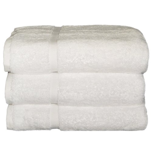 (Baltic Linen   Royal Excellence100% Ring Spun Cotton Hotel Bath Towels 27 x 50-inch White 3 Pack)
