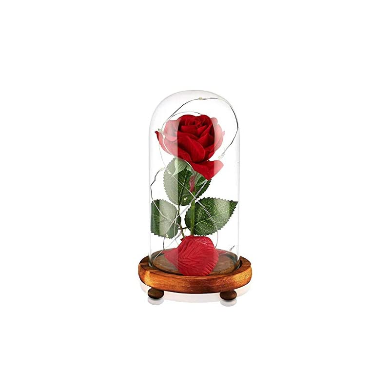 silk flower arrangements junnuo beauty and the beast rose, enchanted red silk rose and led light with fallen petals in glass dome on a wooden base, gift for her - holiday birthday party wedding (natural wood)