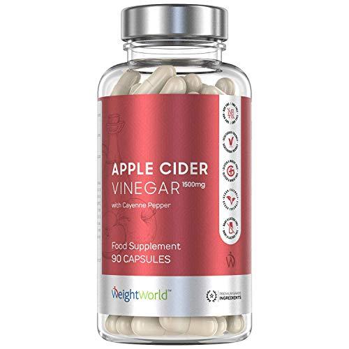 Premium Apfelessig Kapseln mit 1500mg Apple Cider Vinegar hochdosiert für Abnehmen & Diät - Vitamin & Magnesium Tabletten zum Stoffwechsel anregen - Apfel Essig Detox für Verdauung - 90 Kapseln Vegan